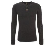 Langarmshirt, meliert, Henley-Kragen, Grau