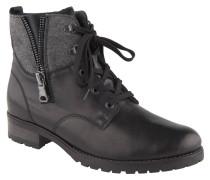 Boots, Leder, Materialmix, Zier-Reißverschlüsse, Schwarz