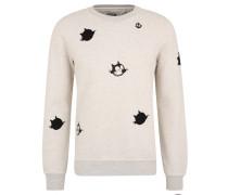 Sweatshirt, Baumwolle, Aufnäher, Stickerei, Beige