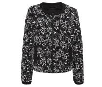 Blouson, Allover-Muster, Floral, Reißverschluss, Schwarz