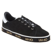 "Sneaker ""Jess"", Rauleder, Kontrastfarben, Label-Print, Schwarz"