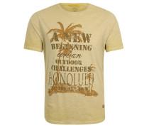 T-Shirt, Baumwolle, Melange, Print, Gelb