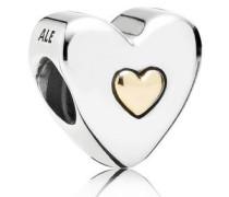 Charm Herz in Herz Silber mit Gold 791290