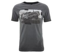 T-Shirt, Print, Washed-Out-Effekt, Schwarz