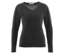 Pullover, Merinowolle, Kaschmir-Anteil, V-Ausschnitt, Grau