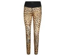 Tights, Leopardenmuster, Mesheinsätze, für Damen, Schwarz