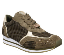 "Sneaker ""Rioko"", Strass, Metallic-Elemente, Mesh-Besatz, Grün"
