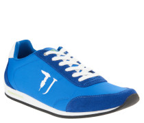 Sneaker, Leder-Akzente, Logo-Stickerei, Blau
