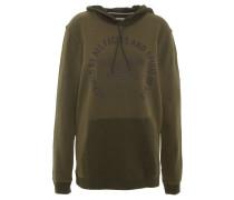 Sweatshirt, Baumwolle, Front-Print, Kapuze, Oliv