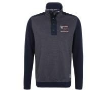 Sweatshirt, Troyer-Kragen, Stickerei, Blau