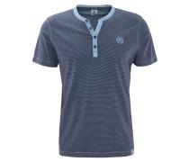 T-Shirt, gestreift, Rundhalsausschnitt, Knopfleiste, Baumwolle, Blau