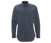 Freizeithemd, Modern Fit, geometrische Musterung, Brusttasche, Blau