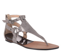 Sandale, Leder, Metalic, Nieten, Reißverschluss, Grau
