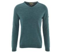 Pullover, Baumwolle, V-Ausschnitt, meliert, Emblem, Türkis