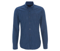 Freizeithemd, gemustert, Brusttasche, Button-Down-Kragen, Blau