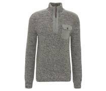 Pullover, Stehkragen, Brusttasche, Strick