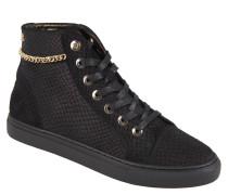 Sneaker, Leder, Reptilien-Optik, vergoldete Kette, Schwarz