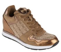 Sneaker, Leder-Besatz, verdeckter Keilabsatz, Metallic-Partien, Gold