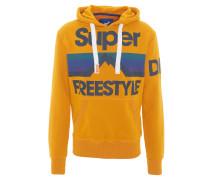 Sweatshirt, Retro-Print, Kapuze, Tasche, Gelb