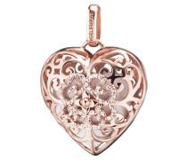 Anhänger Herz Silber rosevergoldet mit Klangherz weiß ERP-01-HEART-ZI-LR