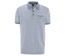 Poloshirt, meliert, Brusttasche, Blau