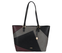 "Shopper ""Yvette"", Lederimitat, grafisches Design, Schwarz"