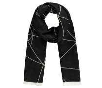 Schal, geometrisches Muster, Fransen, Baumwoll-Mix