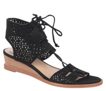 Sandale, Leder, Keilabsatz, Schnürung, Schwarz