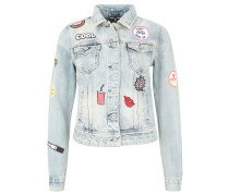 Jeansjacke, Used-Look, Patches, Blau