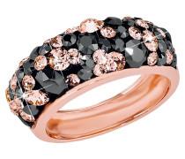Ring mit zweifarbigen Kristallen, rosevergoldet