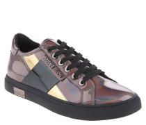 Sneaker, Flop-Lack-Optik, metallic, Grau