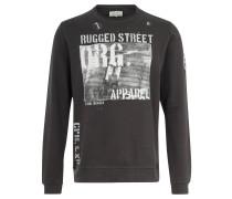 Sweatshirt, reine Baumwolle, Print, Emblem, Schwarz