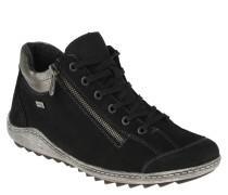 Sneaker, Leder, Metallic-Besatz, Reißverschluss, Schwarz