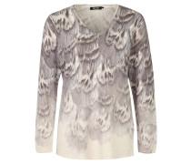Pullover, Feder-Motiv, V-Ausschnitt