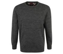 Pullover, Baumwoll-Mix, meliert, Rundhals, Grau