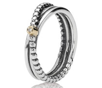 Diamant-Ring Bicolor Gold mit Silber 190243D, 0,01 ct.