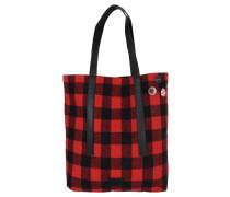 "Shopper ""Warakusi"", Textil, Karomuster, Buttons, Rot"