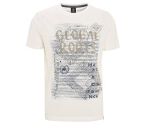 T-Shirt, Print, Aufnäher, Stickerei, Weiß