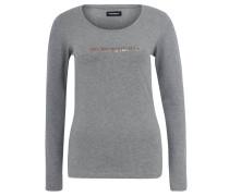 Schlafanzug-Shirt, Baumwoll-Mix, Logo-Print, Grau