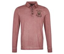 Poloshirt, langarm, verwaschenes Design, Baumwolle, Rot