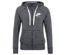 Sweatjacke für Damen, weicher Jersey, Logo-Print, Grau