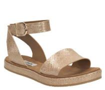 Sandale, Metallic-Look, flach