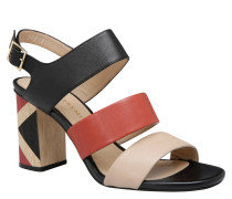 Sandaletten, Blockabsatz, Leder, Bicolor