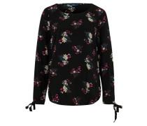 Tunika, Schulterpasse, florales Muster, Schwarz