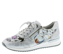 Sneaker, Leder, florales Design, Reißverschluss, Silber