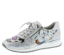 Sneaker, Leder, florales Design, Reißverschluss