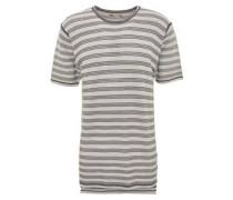 T-Shirt, gerippte Baumwolle, Oversize-Look, langer Rücken