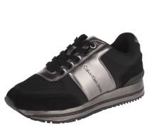 Sneaker, Schnürung, Metallic-Optik, Wildleder