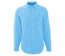 Freizeithemd, Langarm, Baumwolle, Button-Down-Kragen, Blau