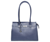"Shopper ""Ingrid"", Leder-Optik, Karo-Steppmuster, Blau"